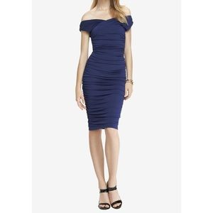 Express WRAP OFF THE SHOULDER RUCHED MIDI DRESS